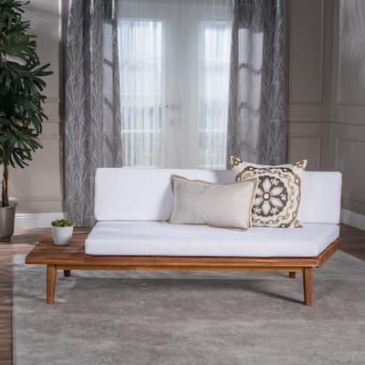 Reginald Sandblast Wood Outdoor Left Sided Sofa with White Cushion