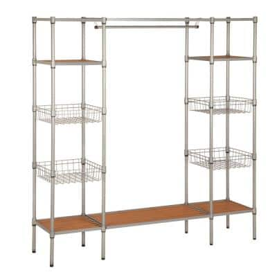 Chrome Steel Freestanding Clothes Rack with Garment Bar and Shelves (67.52 in. W x 68.11 in. H)