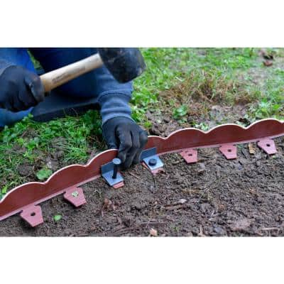 2 in. x 100 ft. Red Polyethylene Scalloped Woodgrain No-Dig Edging Kit