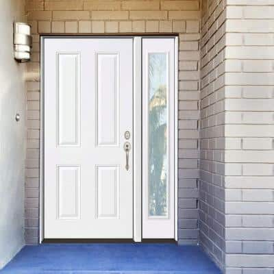 53 in. x 80 in. 4-Panel Primed White Left-Hand Steel Prehung Front Door with 14 in. Clear Glass Sidelite 6 in. Wall
