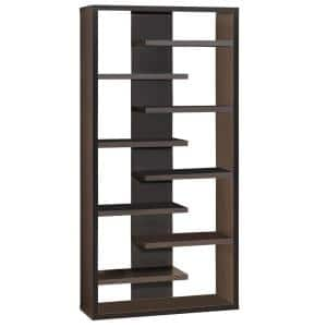 70.75 in. Brown Wood 9-shelf Standard Bookcase with Open Back
