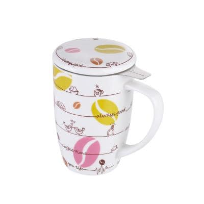15.2 oz. Large Tea Infuser Mugs with Lid and StainlessSteel Tea-for -One PerfectSet for Office and HomeUse,Lips & Kisses