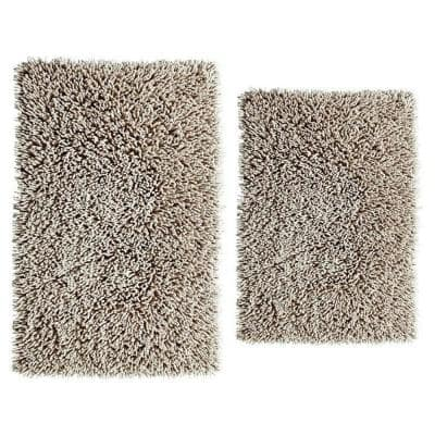 Chenille Shaggy Stone 21 in. x 34 in. and 24 in. x 40 in. Bath Rug Set (2-Piece)