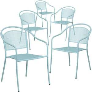 Stackable Metal Outdoor Dining Chair in Sky Blue (Set of 5)