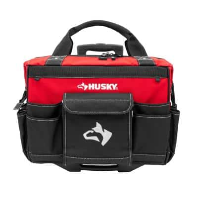 18 in. Zipper Top Rolling Weather Resistant Tool Tote Bag in Red with 18 total pockets and heavy-duty telescoping handle