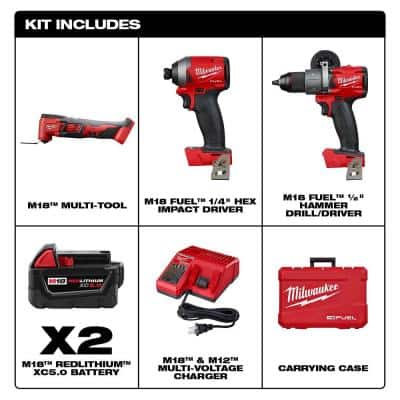 M18 FUEL 18-Volt Lithium-Ion Brushless Cordless Hammer Drill and Impact Driver Combo Kit (2-Tool) W/ M18 Multi-Tool