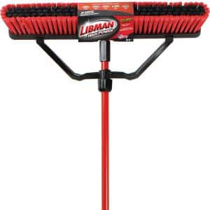 24 in. Multi-Surface Push Broom Set with Brace and Handle