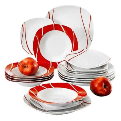 Felisa 18-Piece Holiday Ivory white with red edge Porcelain Dinnerware Set (Service for 6)