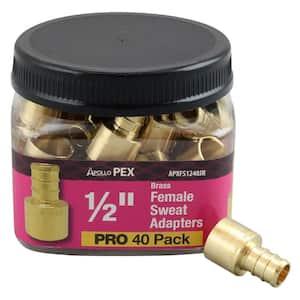 1/2 in. Brass PEX Barb x 1/2 in. Female Copper Sweat Adapter Pro Pack (40-Pack)