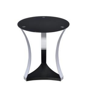 Amelia Chrome Black Glass Geiger End Table