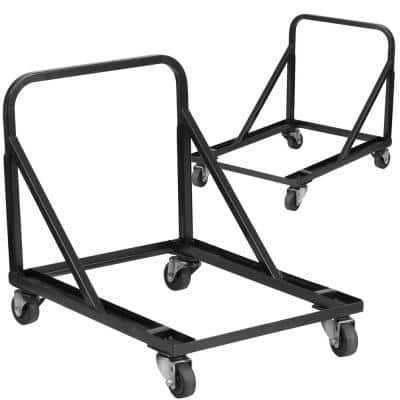 1200 lbs. capacity Stack Chair Dolly with Wheels - Black (Set of 2)