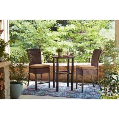 Harper Creek Brown 3-Piece Steel Outdoor Patio Bar Height Dining Set with CushionGuard Toffee Tan Cushions