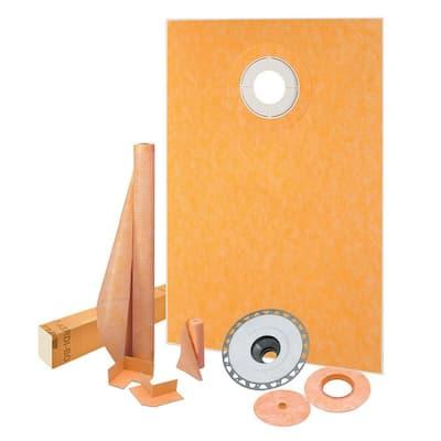 Kerdi-Shower 38 in. x 60 in. Off-Center Shower Kit with PVC Flange