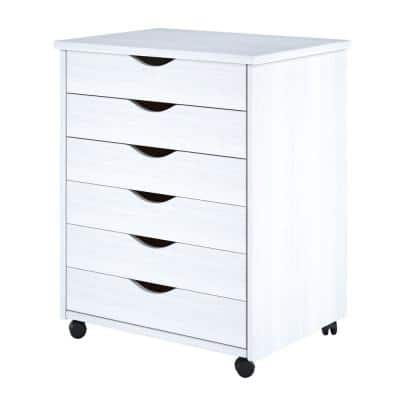White 6-Drawer Solid Wood Wide Roll Cart