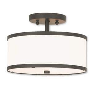 Park Ridge 2 Light Bronze Semi Flush Mount