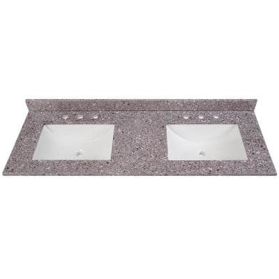 61 in. W x 22 in. D Stone Effects Double Sink Vanity Top in Mineral Gray with White Sinks