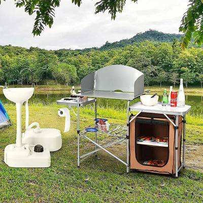Outdoor Kitchen Foldable Grilling Stand Portable Camping Grill Table BBQ Table Light Gray Chair
