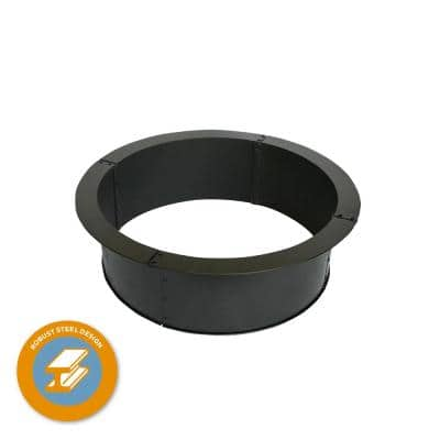 28 in. x 10 in. Round Steel Wood Fire Pit Ring with 0.8 mm Steel