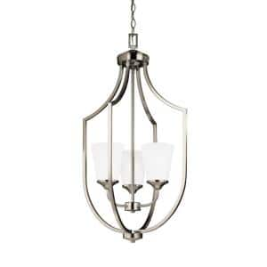 Hanford 3-Light Brushed Nickel Hall-Foyer Pendant with LED Bulbs