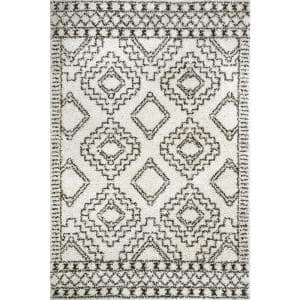Lacey Moroccan Tribal Shag Off White 3 ft. x 5 ft. Area Rug