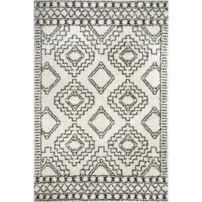 Lacey Moroccan Tribal Shag Off White 5 ft. 3 in. x 7 ft. 7 in. Area Rug
