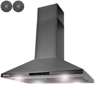36 in. 343 CFM Convertible Island Mount Range Hood with Lights and Touch Control in Black Stainless Steel