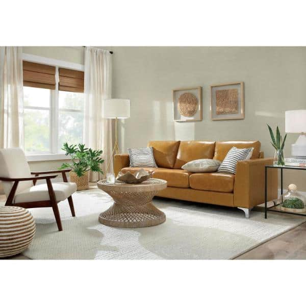 Homesullivan Russel 91 In Caramel Faux, Paint For Leather Furniture Home Depot