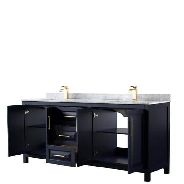 Wyndham Collection Daria 80 In Double Bathroom Vanity In Dark Blue With Marble Vanity Top In White Carrara With White Basins Wcv252580dblcmunsmxx The Home Depot