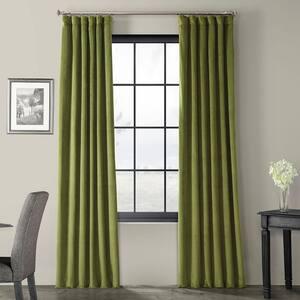Green Velvet Rod Pocket Blackout Curtain - 50 in. W x 84 in. L