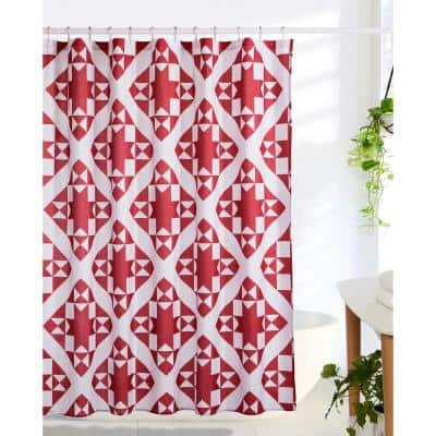 Little Stars 72 in. Red Shower Curtain