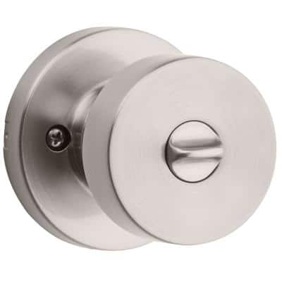 Pismo Round Satin Nickel Bed/Bath Door Knob Featuring Microban Antimicrobial Technology