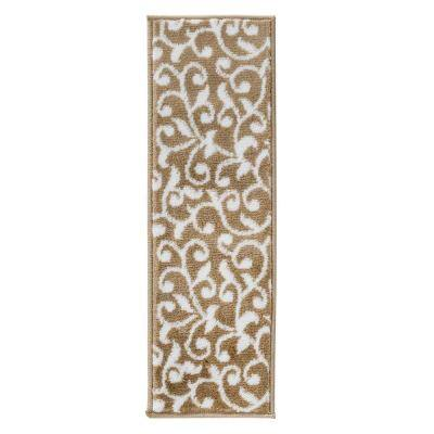Leaves Collection Beige White 9 in. x 28 in. Polypropylene Stair Tread Cover (Set of 13)