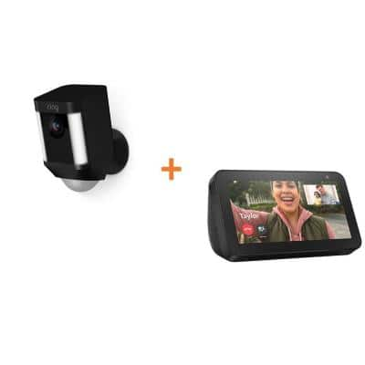 Wireless Spotlight Cam Battery Outdoor Rectangle Security Standard Surveillance Camera in Black, Echo Show 5-Charcoal