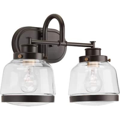 Judson Collection 2-Light Antique Bronze Clear Glass Farmhouse Bath Vanity Light
