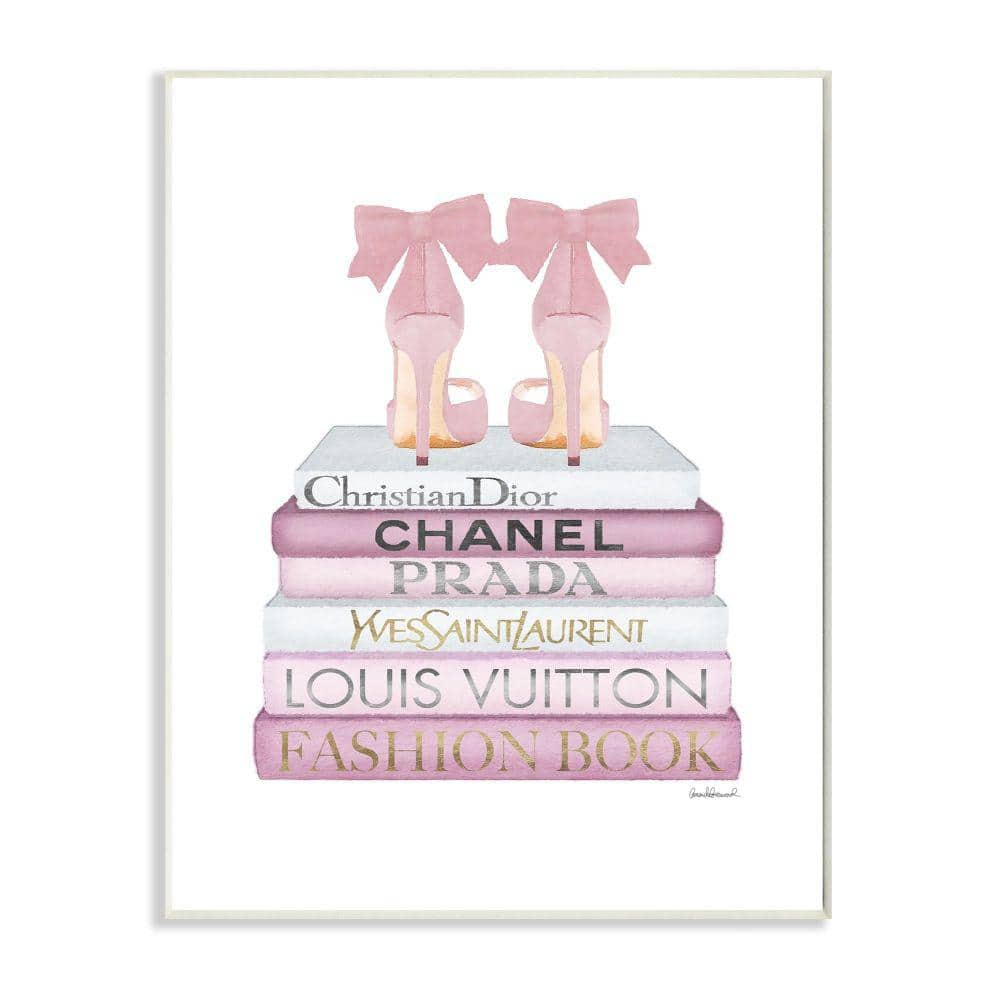 Stupell Industries Fashion Designer Shoes Bookstack Pink White Watercolor By Amanda Greenwood Wood Abstract Wall Art 15 In X 10 In Agp 221 Wd 10x15 The Home Depot