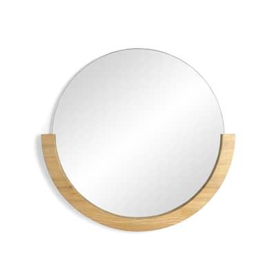 Mira 30 in. H x 30 in. W Natural Round Modern Mirror