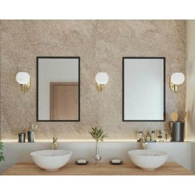 Carisa Collection 1-Light Vintage Gold Opal Glass Mid-Century Modern Bath Vanity Light