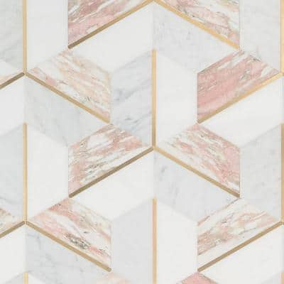 Timbira Rosa 11.81 in. x 10.23 in. Polished Marble and Brass Wall Mosaic Tile (0.83 sq. ft./Each)
