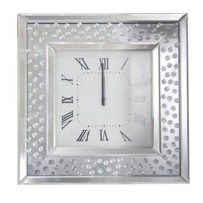 Square Shape Clear Mirrored Analog Wall Clock with Wooden Backing