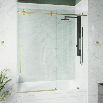Elan E-Class 56 to 60 in. W x 66 in. H Sliding Frameless Tub Door in Matte Gold with Clear Glass