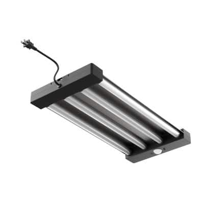 2 ft. 55 Watt Equivalent Integrated LED Black/Gray 4-Light Motion Control Garage Light, Bright White