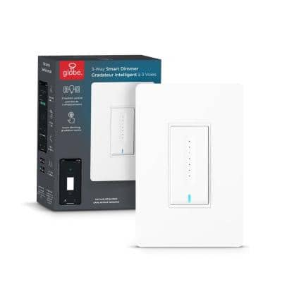 Wi-Fi Smart 3-Way Dimmer Switch, No Hub Required, Voice Activated in White