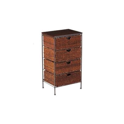 Beverly 4-Drawer Natural Husk and Black Wood Top Chest 18.3 in. W x 33 in. H x 13.7 in. D