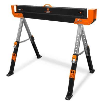 1300 lbs. Capacity 32 in. H Adjustable Folding Steel Saw Horse with 2x4 Support Arms