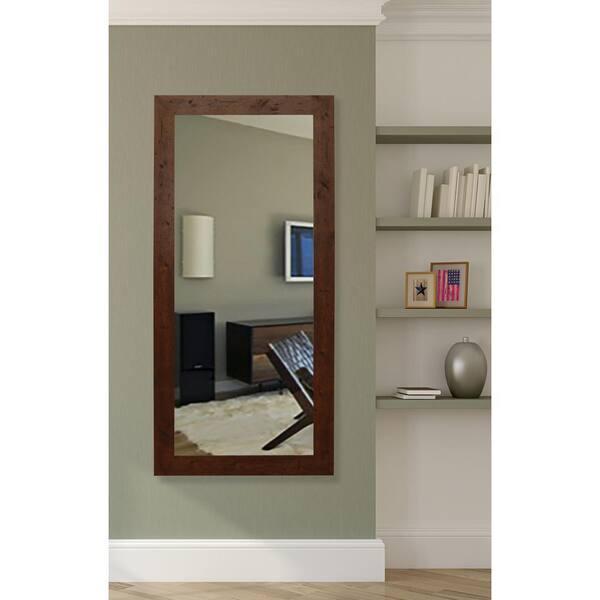 25 In W X 60 H Framed Rectangular, Dark Brown Wood Bathroom Mirror