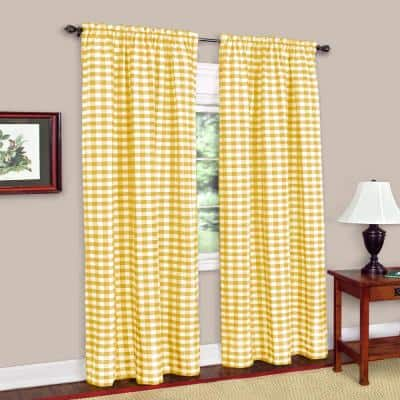 Buffalo Check 42 in. W x 95 in. L Polyester/Cotton Light Filtering Window Panel in Yellow