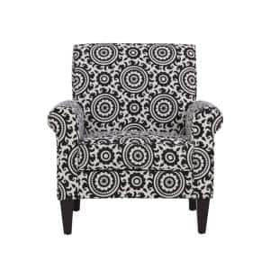 Jean Black and Cream Medallion Arm Chair