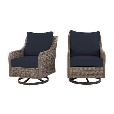 Windsor Brown Wicker Outdoor Patio Swivel Lounge Chair with CushionGuard Midnight Navy Blue Cushions (2-Pack)