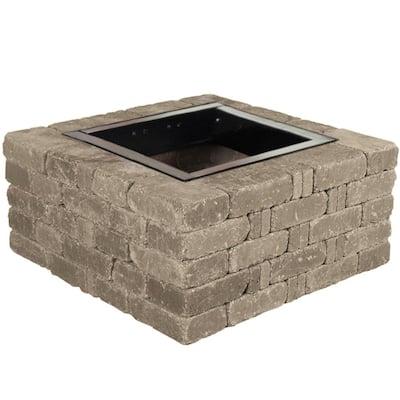 RumbleStone 38.5 in. x 17.5 in. Square Concrete Fire Pit Kit No. 6 in Greystone