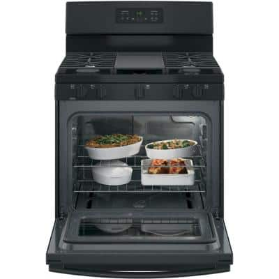 5.0 cu. ft. Gas Range with Steam Cleaning Oven in Black